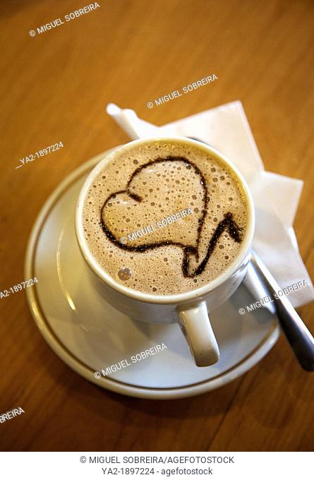 Italian Coffee Company - Cup of Coffee with Heart Art on Froth - in Puebla - Mexico