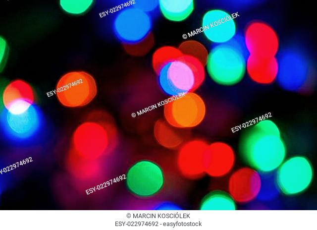 Blurred colored Christmas lights background