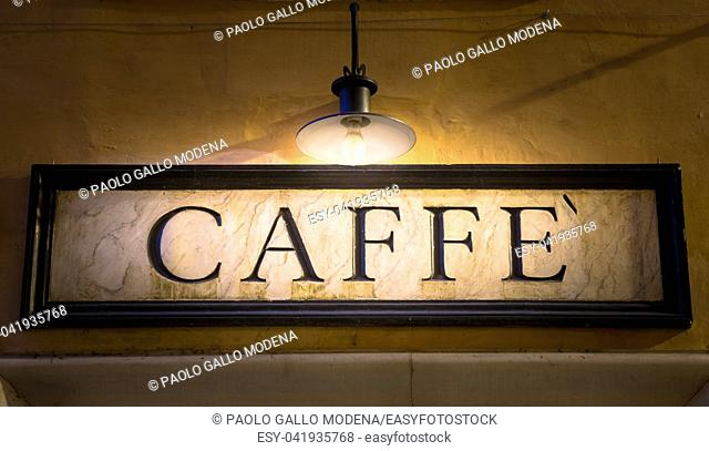 Rome, Italy. Tradiotional vintage style coffee sign on the wall