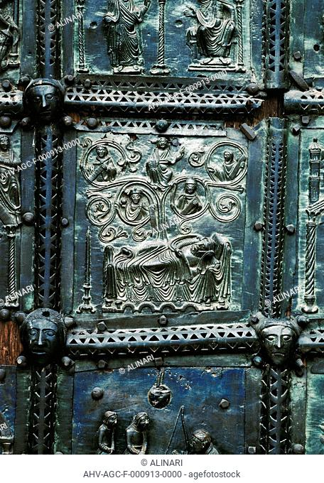 Bronze panels with Scenes of the Old Testament on the right anta of the Portal of the Cathedral of St. Zeno Maggiore in Verona: detail with the tree of Jesse
