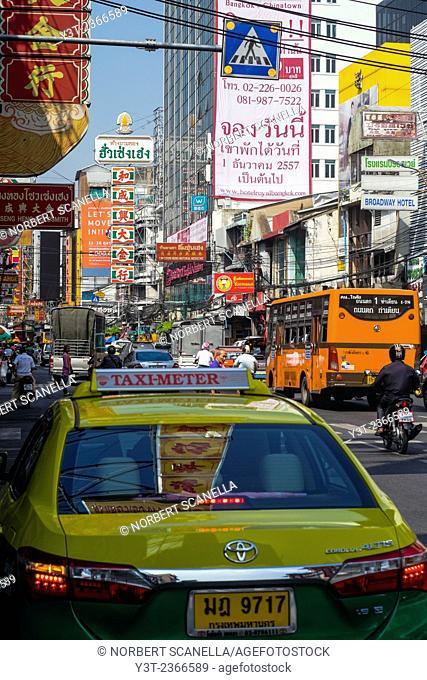 Asia. Thailand, Bangkok. Traffic. Taxi. Chinatown
