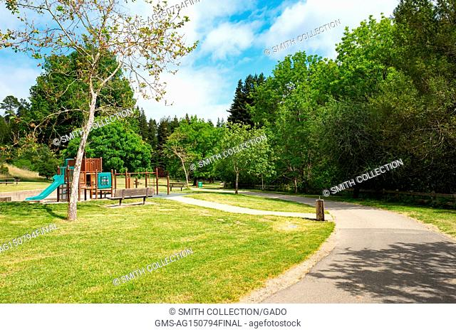 Playground along the Stream Trail on a sunny day in Redwoods Regional Park, Oakland, California, May 26, 2017