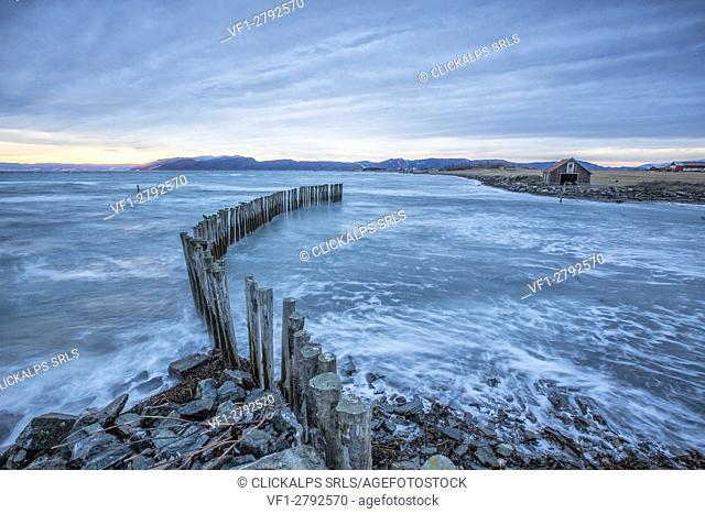 Waves on the icy sea Kystensarv Trøndelag Norway Europe