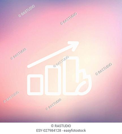Growing graph icon thin line for web and mobile, modern minimalistic flat design. Vector white icon on gradient mesh background