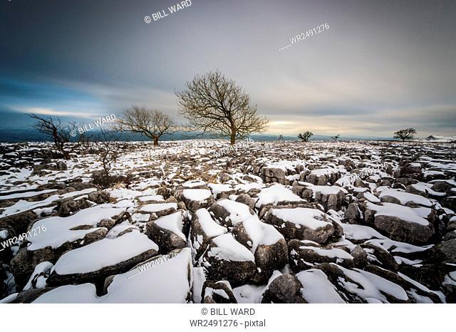 Twistleton Scar End in snow, Ingleton, Yorkshire Dales, Yorkshire, England, United Kingdom, Europe