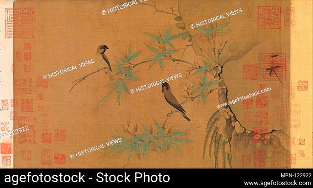 Finches and bamboo. Artist: Emperor Huizong (Chinese, 1082-1135; r. 1100-25); Period: Northern Song dynasty (960-1127); Date: early 12th century; Culture:...