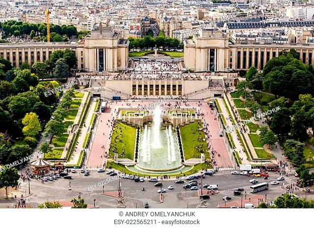 Aerial View on Trocadero Fountains From the Eiffel Tower, Paris, France