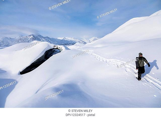 A snowshoer crosses over the snow-covered Canwell Glacier in winter; Alaska, United States of America
