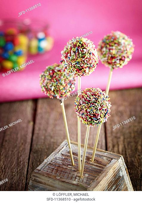 Cake pops with colourful sugar sprinkles
