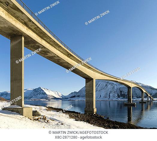 Bridge from Gimsoya to Austvagoya over Gimsoystraumen. The Lofoten islands in northern Norway during winter. Europe, Scandinavia, Norway, February
