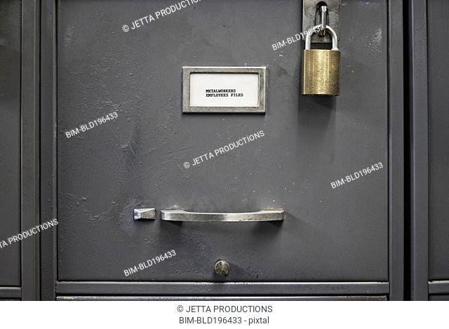 Locked file cabinet drawer