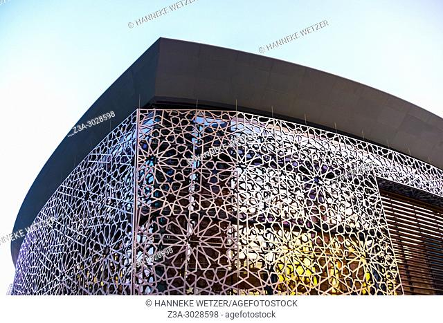 Exterior of the Dubai Opera with traditional arabic decoration in Dubai