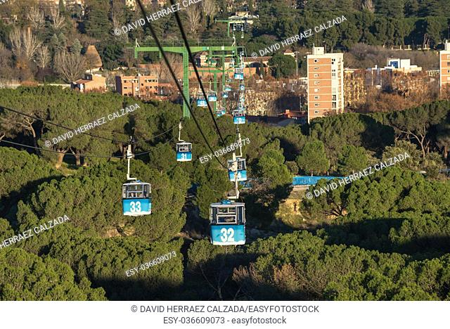 Cable car over casa de campo park in Madrid, Spain