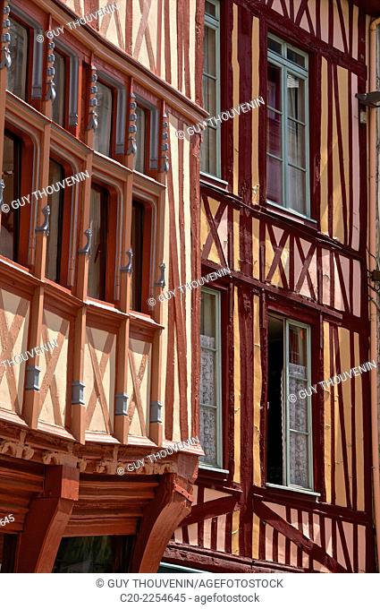 Medieval houses, facade,half timbered, old town, Rouen , Normandy 76, france