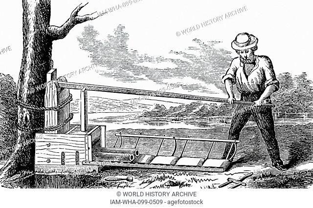 Engraving depicting a simple, inexpensive machine capable of producing 3,000 drainage pipes per working day. Dated 19th Century