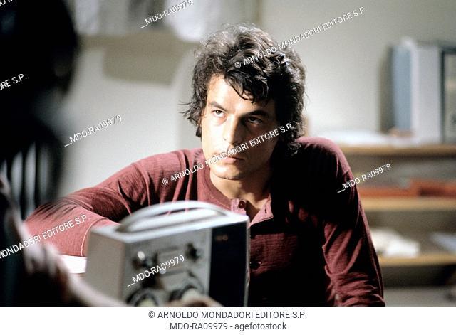 Italian actor Michele Placido in Processo per direttissima. 1974