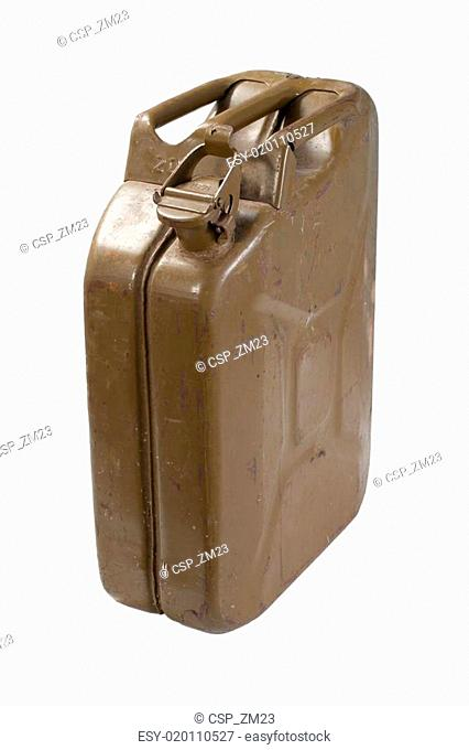 old green jerrycan isolated on white background