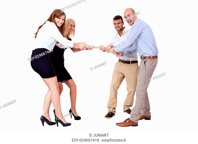 business woman against businessman pulling rope isolated on white