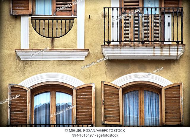 Facade of an apartment building in the town of Denia, Alicante, Valencia. Spain