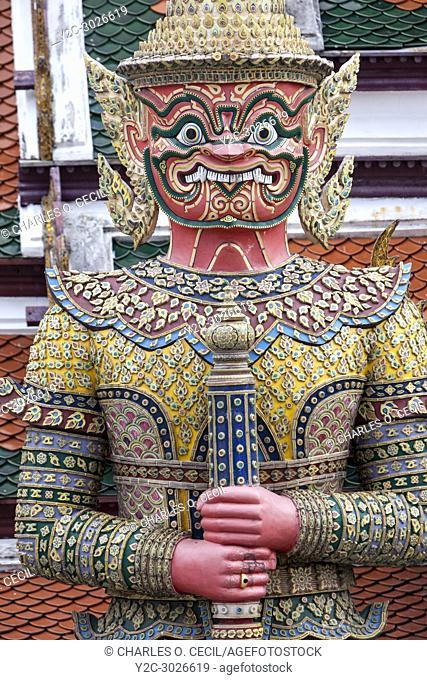 Bangkok, Thailand. Yahska (Demon) Guardian, Royal Grand Palace Compound