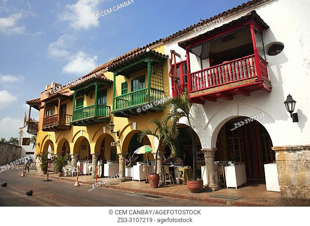 View to the colonial building with balconies at Plaza de Coches in the historic center, Cartagena de Indias, Bolivar Region, Colombia, South America