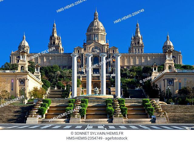 Spain, Catalonia, Barcelona, Montjuic, National Palace (Palau Nacional), Catalonia National Museum of Art (MNAC)