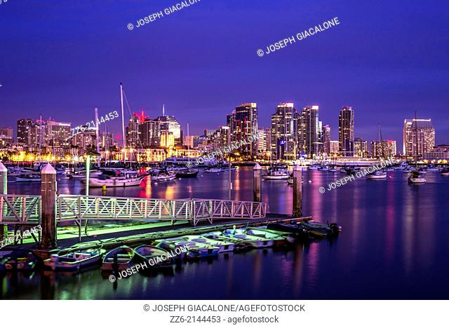 San Diego Harbor and Downtown Skyline at night . San Diego, California, United States
