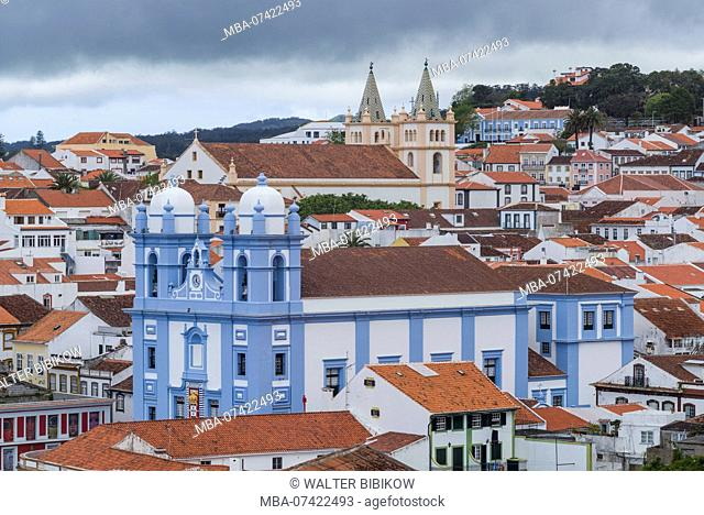 Portugal, Azores, Terceira Island, Angra do Heroismo, elevated town view with Igreja da Misericordia and Santissimo Salvador da Se churches
