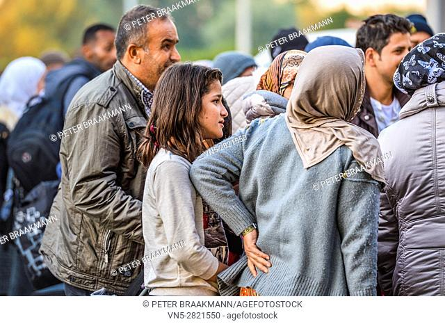 ROOSENDAAL, THE NETHERLANDS OCTOBER 2: Arrival two hundred refugees on Metsj Point in Roosendaal on October 2, 2015 in Roosendaal, The Netherlands
