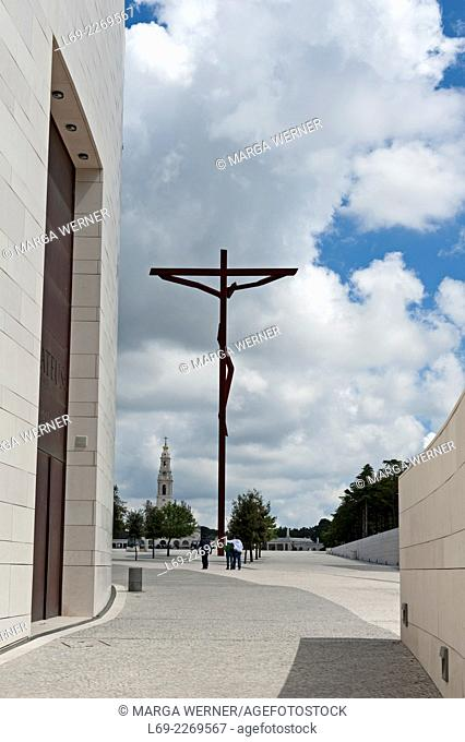 Modern Sculpture Crucifixion of Jesus at Pilgrimage site Fatima, Ourem, District Santarem, Portugal, Europe