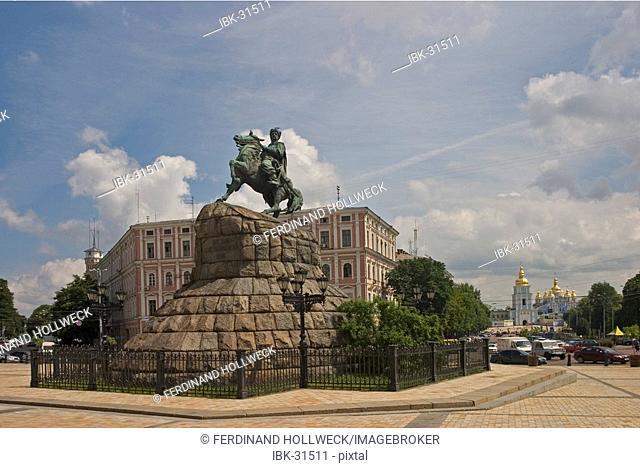 Ukraine Kiev horseman memorial from Bohdan Chmel'nyc'kyj (1648-1657) horseman horse statue view to St Michael monastery blue sky and clouds 2004