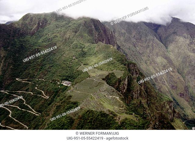 View of Machu Picchu and the modern access road from the summit of Huayna Picchu
