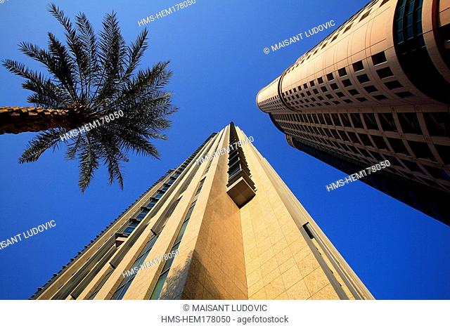 United Arab Emirates, Dubai, palm trees and modern Buildings on Sheikh Zayed Road