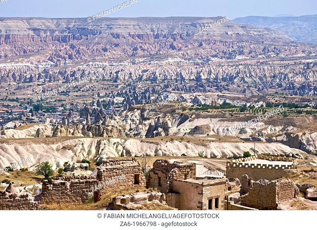 View of the Goreme Valley from Uchisar, Cappadocia, Central Anatolia, Turkey