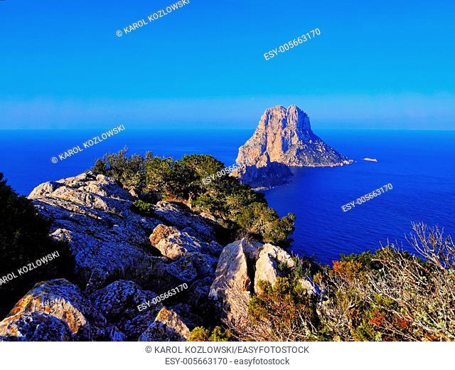 Es Vedra - beautiful rock on Ibiza Island, Balearic Islands, Spain