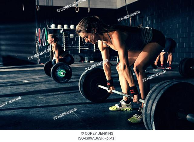 Women training with barbells in gym