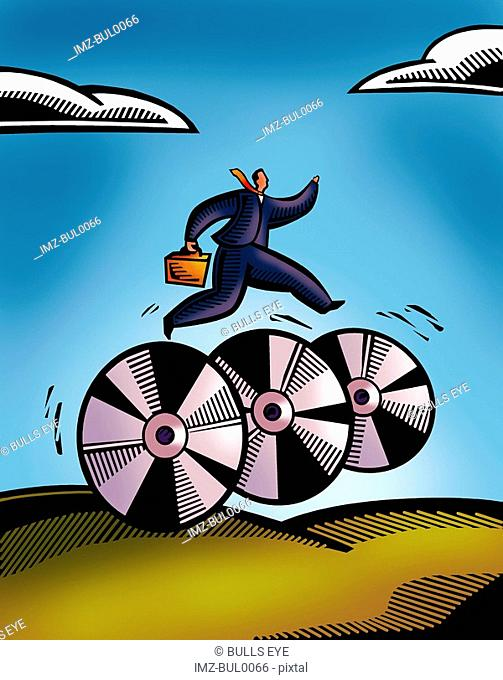 A picture of a business man rushing on wheels