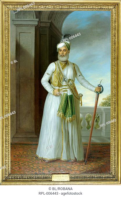 Muhammad 'Ali Khan Nawab of the Carnatic 1750-1795. The Nawab stands facing outwards one hand grasping his girdle and the other holding the hilt of a sheathed...