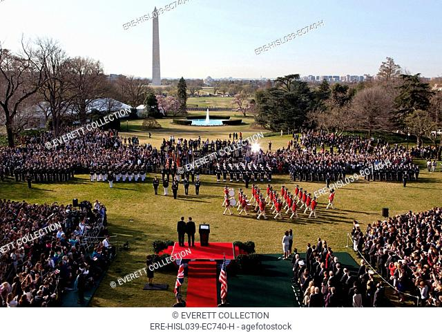 U.S. Army Fife and Drum Corps during an Arrival Ceremony on the South Lawn, White House. Ceremony was for Prime Minister David Cameron who stands with President...