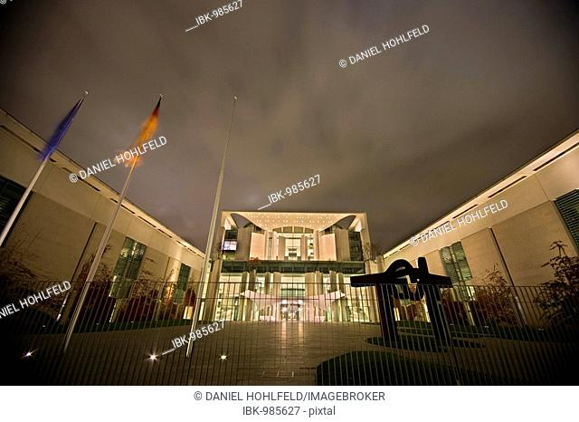 Bundeskanzleramt, German Chancellery at night, Berlin, Germany, Europe