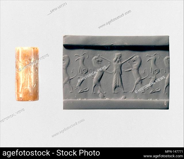 Cylinder seal. Period: Achaemenid; Date: ca. 5th-4th century B.C; Geography: Iran; Culture: Achaemenid; Medium: Stone, gray; Dimensions: 0.99 in. (2