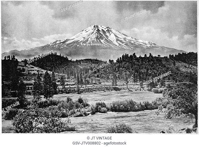 Mountain, Shasta, landscape, California, historical