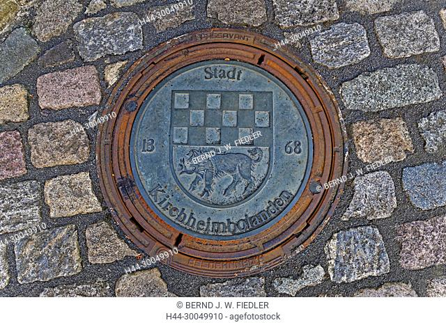 Sewage, shaft, cover, canal lid, town coat of arms, Kirchheimbolanden Germany
