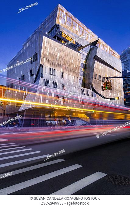 The Cooper Union NYC - Exterior view to Cooper Union College during the blue hour. In contrast to the original building, 41 Cooper Square is of a modern