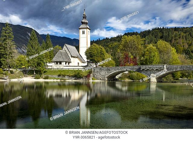 St John the Baptist Church on Lake Bohinj in Ribcev Laz, Upper Carniola, Slovenia
