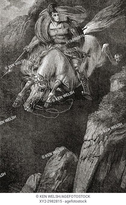 The sacrificial death of Marcus Curtius, a mythological young Roman who offered himself to the gods of Hades in order to save Rome