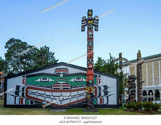Mungo Martin Longhouse and totem pole, RBCM, Victoria, Vancouver Island, British Columbia, Canada