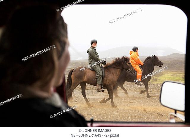 Woman driving car looking at people riding horses