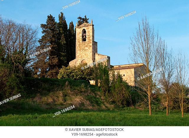 Romanesque church of Santa Maria, Porqueres, Pla de l'Estany, Girona, Catalonia, Spain