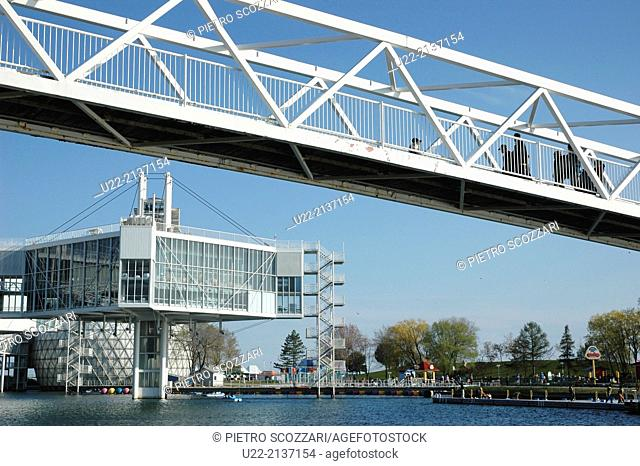 Toronto Canada: Ontario Place marina and waterfront park attraction